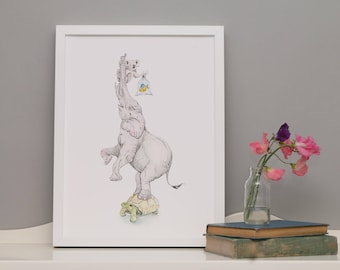 Edelephant: Art Print // acrobatic elephant and a koala balance on a tortoise whilst carrying a goldfish in a bag // nursery // for kids