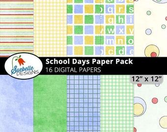 School Days Digital Paper Pack (Digital Scrapbooking Paper Backgrounds)