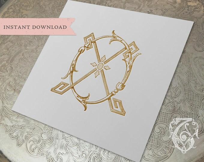 Vintage Wedding Monogram XO OX Digital Download X O