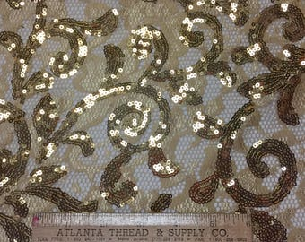 """Cottage Garden Gold Sequins on Cream Lace 50"""" wide"""