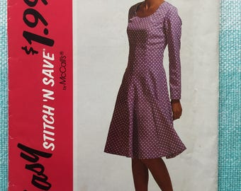 1990s McCall's 5788 EASY Sewing Pattern Ladies Misses Fit and Flare Scoop Neck Princess Seam Dress Long Sleeves Size 12-14-16 Bust 34-36-38