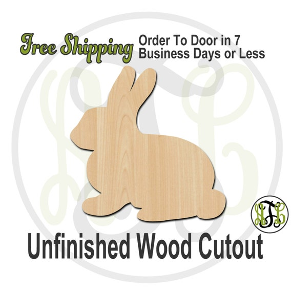 """Bunny- 2"""" to 6"""" Minis- 230027- Small Wood Cutout, unfinished, wood cutout, wood craft, laser cut shape, wood cut out, ornament"""