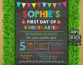 First Day of kindergarten Chalkboard Sign - First Day of School Printable Sign Photo Prop - ANY GRADE Any Age
