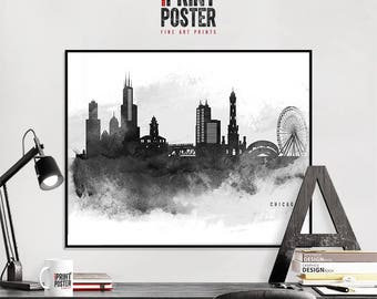Chicago black and white watercolour art print, Chicago skyline poster, city prints, art gift, travel decor, wall decor, iPrintPoster