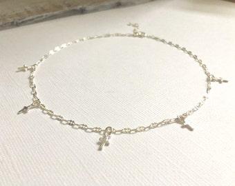 Sterling Silver Mini Cross Choker Necklace, Gold Mini Cross Choker Necklace, Wedding Jewelry, Bohemian Jewelry
