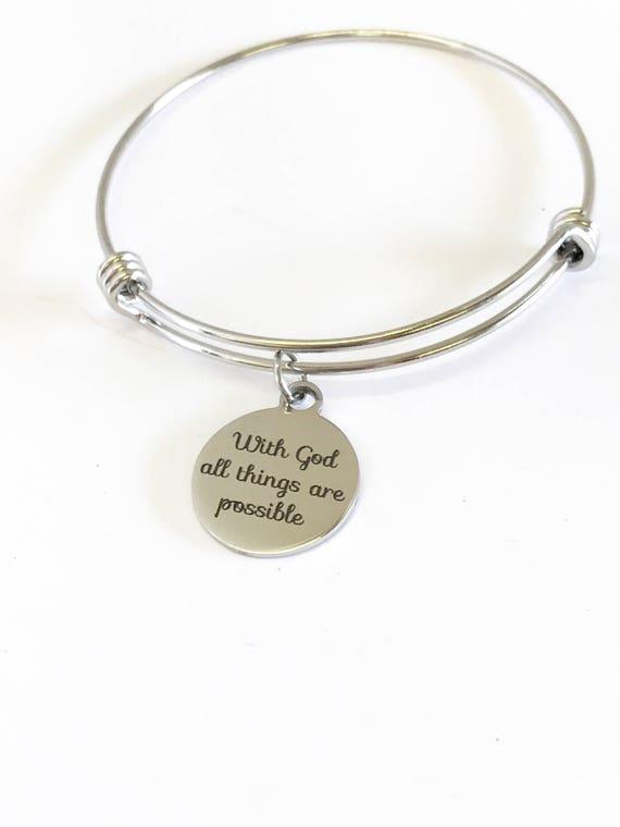 Christian Bracelet, With God All Things Are Possible Bracelet, Bangle Bracelet, Encouragement Gift, Christian Jewelry Gift, Christian Gifts