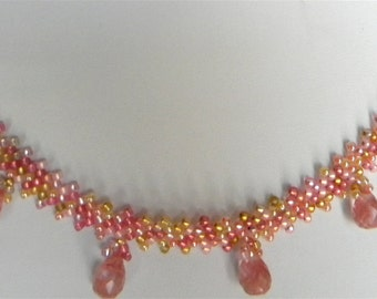 Handmade 16 Rose Quartz Briolettes & Seed Beads Beadwork Collar Necklace Diagonal Peyote Stitch