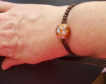 Bronzites and Lampwork Glass Bead Bracelet
