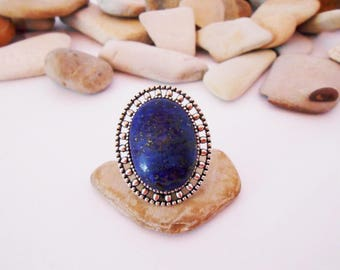 Silver Lapis lazuli ring Adjustable ring Oval ring One of a Kind Handmade Unique Chunky Gemstone ring Lapis Lazuli Silver Blue Stone ring