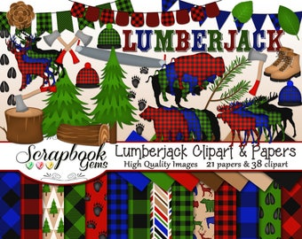 LUMBERJACK Clipart and Papers Kit, 38 png Clip Arts, 21 jpeg Papers Instant Download camping axe saw forest stump deer bison buffalo moose