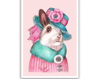 Lady Rabbit Art Print - Lovely Pet Rabbit Wall Art, Baby Room Decor - Pets in Pink Art - Whimsical Animal Portraits by Maria Pishvanova