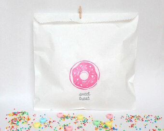 DONUT Favour Bags -DONUT WALL bags, donut party bags, donut bags, donut party, donut buffet bags, donut theme, doughnut bags x 10