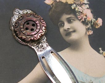 Pearl BUTTON bookmark, Victorian carved mother-of-pearl on silver. Present, gift, stocking stuffer.