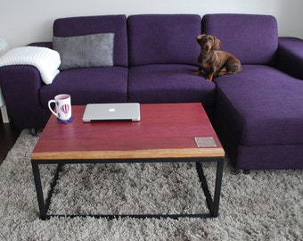 Industrial Coffee Table   Wood Coffee Table   Modern Furniture   Living  Room Furniture   Accent Table   Steel Frame   Purpleheart Table