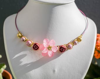 Necklace pink and gold aluminum wire Lola'