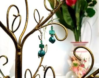 Beaded Wire Earrings by Anne O'Brien Design /Deep Teal Silver Wire Earrings