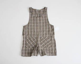 overall shorts | 90s plaid romper | plaid overalls