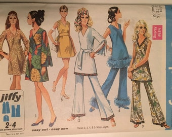 Simplicity 1969 misses dress tunic and pants pattern size 16