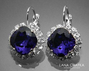 Dark Violet Crystal Halo Earrings Swarovski Purple Velvet Rhinestone Leverback Sparkly Earrings Grape Purple Wedding Earrings Prom Earrings