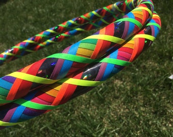 Dark Side of the Rainbow Dance & Exercise Hula Hoop COLLAPSIBLE or Push Button colorful criss cross *limited ed*