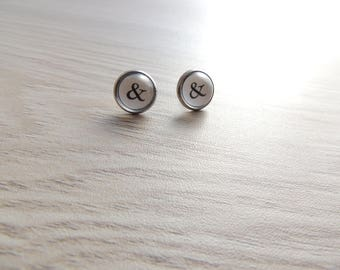 Ampersand Bridesmaid Earrings // 6 pairs // Typewriter Earrings // Initial earrings // ampersand earrings