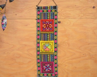 Vintage 70's Guatemalan Embroidery Wall Hanging Bright Rainbow Striped