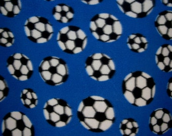 Blue Soccer Balls Fleece Fabric by the yard
