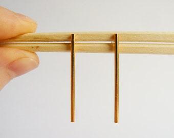 SALE Gold Bar Earrings - Modern Bar Stud Earings - Everyday Long Bars - Dangle Earrings - Gold Bars Handmade in Brooklyn Hook and Matter NYC