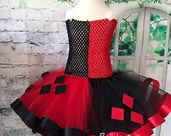 Harley Quinn tutu, Harley Quinn dress, Harley Quinn costume, Harley Quinn Comic Con, Jester tutu, jester costume, harlequin costume