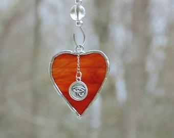 Eye of Horus suncatcher, stained glass heart suncatcher ornament, Egyptian symbol, zen