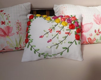 Cushion romantic heart of roses - embroidery hand made ribbons