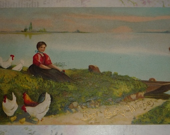 NEW Listing** Woman With Chickens Sitting Near Lake Antique Easter Postcard