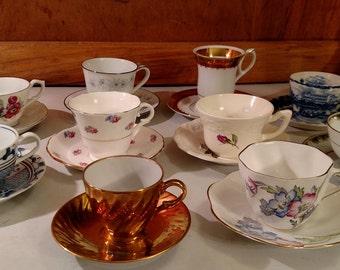 Vintage  Mismatched Tea Cups and Saucers 10 sets (20 pieces)