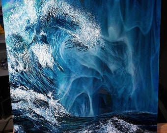 Wave original oil painting on glass