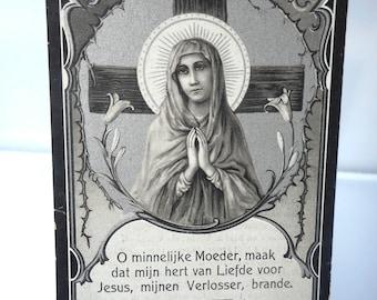Antique Holy card, Funerary card, Silver print, Holy Virgin, Catholic prayer card, Christian Holy card, Vintage holy card, Religious cards