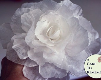 "One wafer paper flower peony for cake decorating or a modern wedding cake topper. 5"" diameter. Peony style."