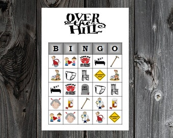 Over the Hill Bingo 30 Printable Birthday Party Bingo Game Cards for 40th, 50th, 60th ... Birthday