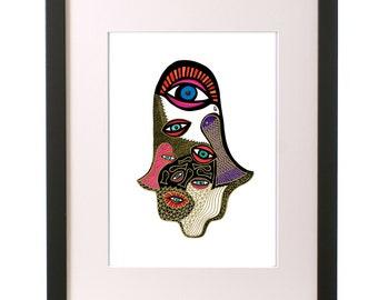 Hamsa Hand Art,Eclectic Art,Bohemian Art,Hand of Fatima,Healing Hand,Hand of Miriam,Pink Wall Decor,Dove Wings,Eye Art,Hamsa Poster,Dove Art