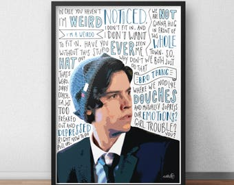 Cole Sprouse print / poster hand drawn typography quotes
