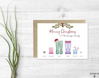 Custom christmas card - Family christmas card - Personalized Christmas card - Family portrait - Holiday family card - Printable card -