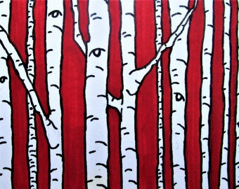 """Red Birch Forest #262 (ARTIST TRADING CARDS) 2.5"""" x 3.5""""  by Mike Kraus - woods trees nature hike hiking environment abstract beautiful aceo"""