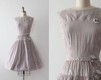 vintage 1950s dress // 50s brown striped day dress