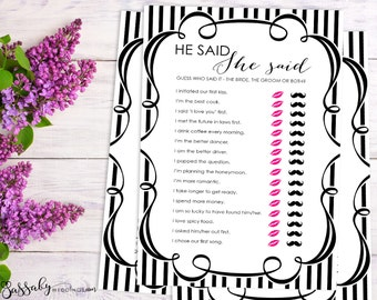 He Said She Said - Bridal Shower Game - INSTANT DOWNLOAD - Printable Black & White Wedding Shower Party Game