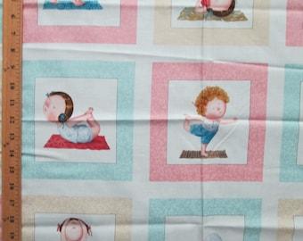 Baby Yoga Pink Blue Yellow 15 Block Cotton Fabric Panel