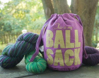 Golden Ball Sack Drawstring Knitting Bag- Small, in color Plum