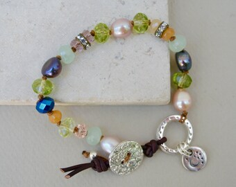 Boho Hand Knotted Bracelet . Leather . Sterling Charm. Freshwater Pearls . Wedding Gift .Bracelet. Boho .