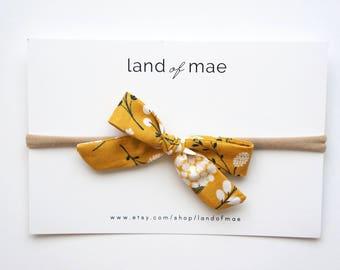 Mustard Floral Bow** NYLON OR CLIP** Baby headband, Girl headband, Fabric bow, Matching bow, Girl Gift, Baby Gift