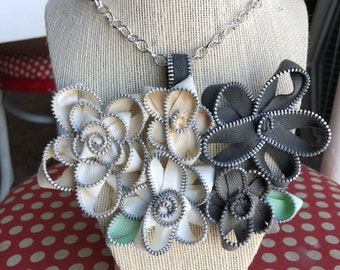 Grey and White Vintage Zipper Flower Necklace