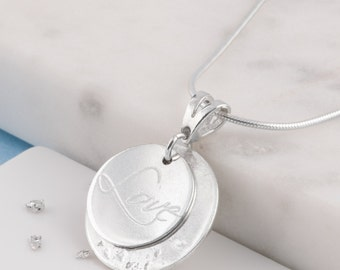 Silver love memorial necklace