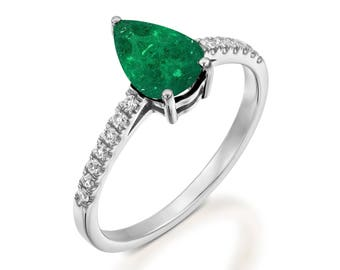 Emerald Diamond Engagement Ring -Gold Ring-Emerald Engagement Ring -Anniversary present-Promised ring-Green Emerald ring-Pear emerald ring